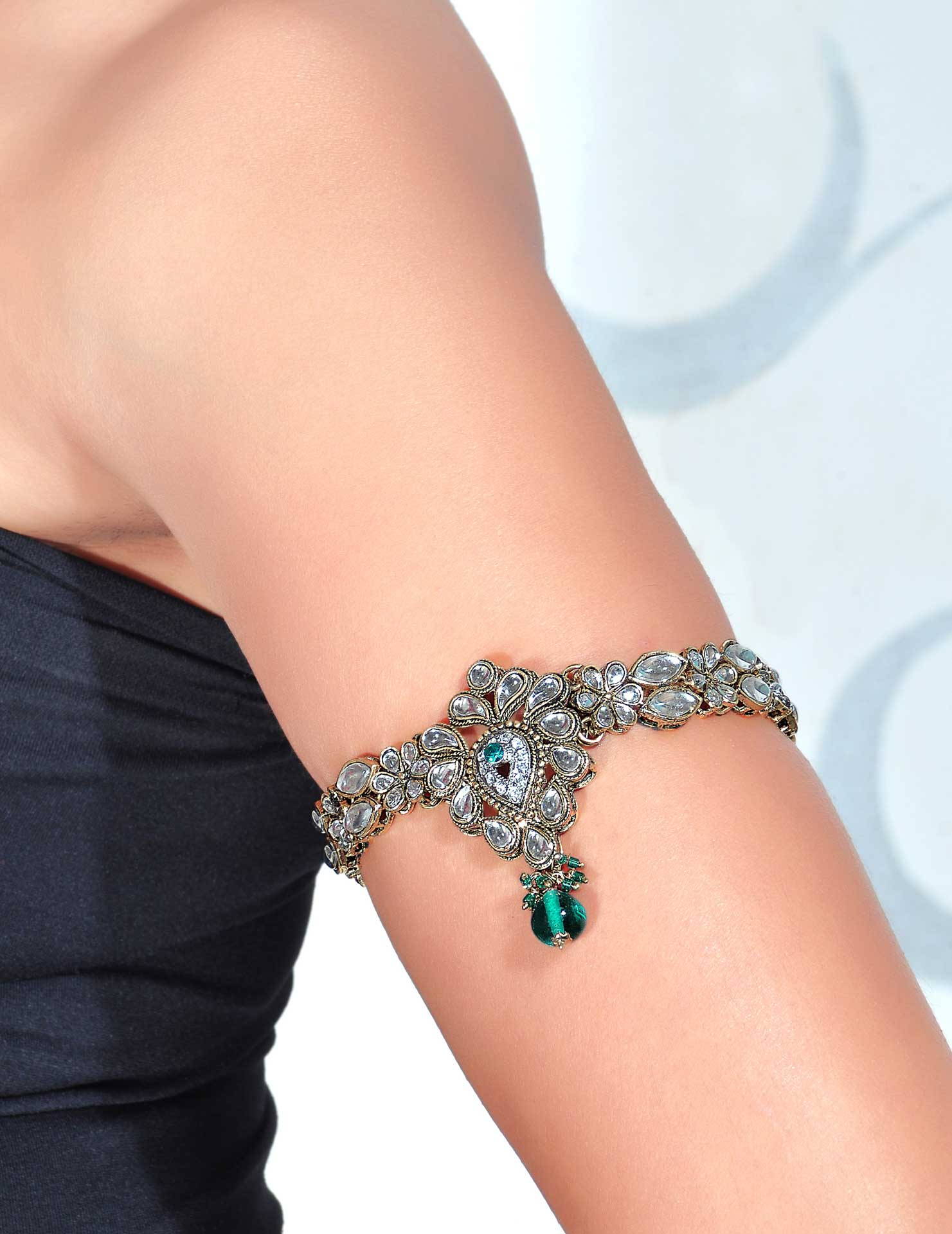 Stunning rama arm band with kundan design and antique finish