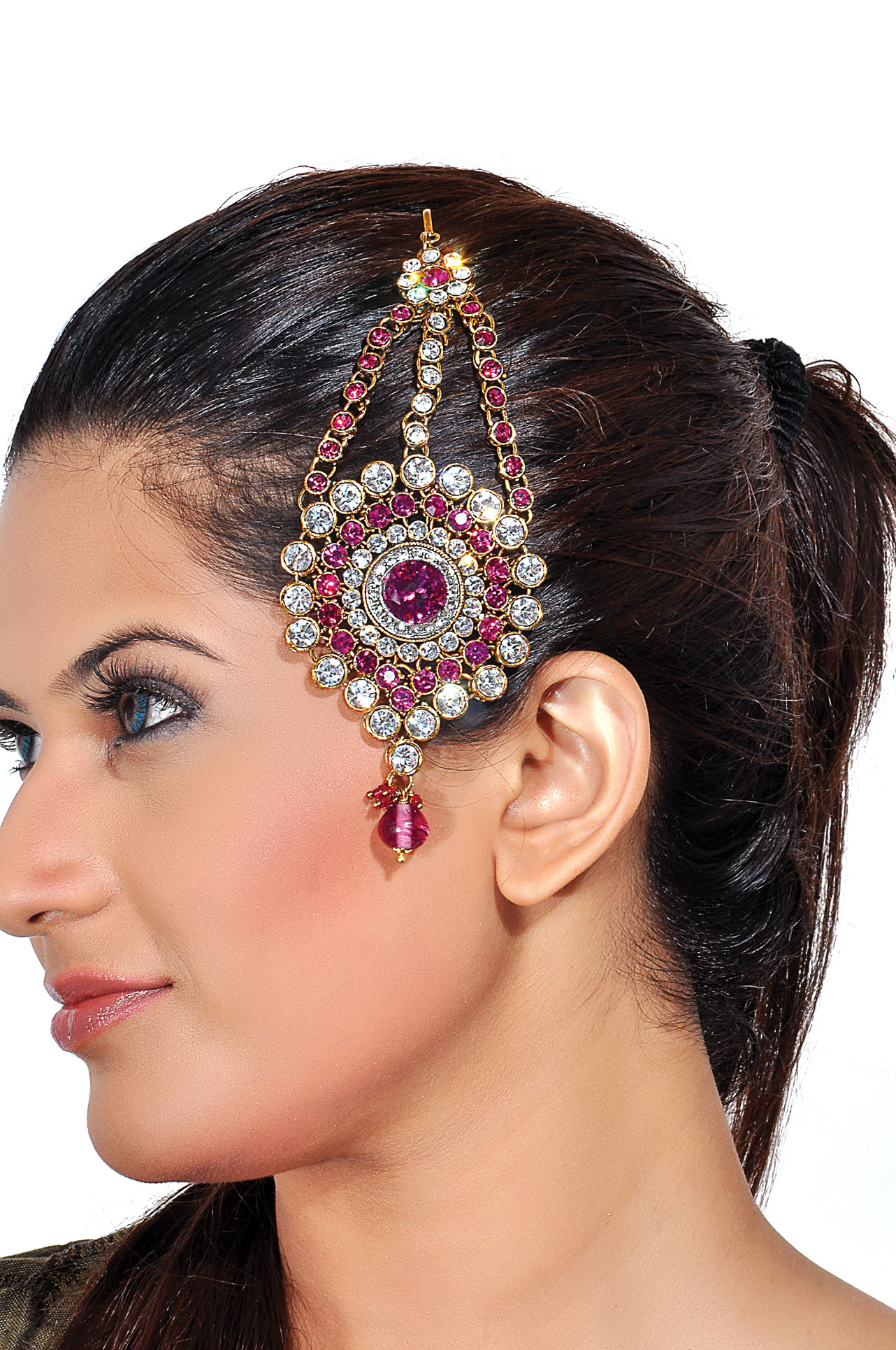 Glittering rani pink and silver side tikka with antique finish