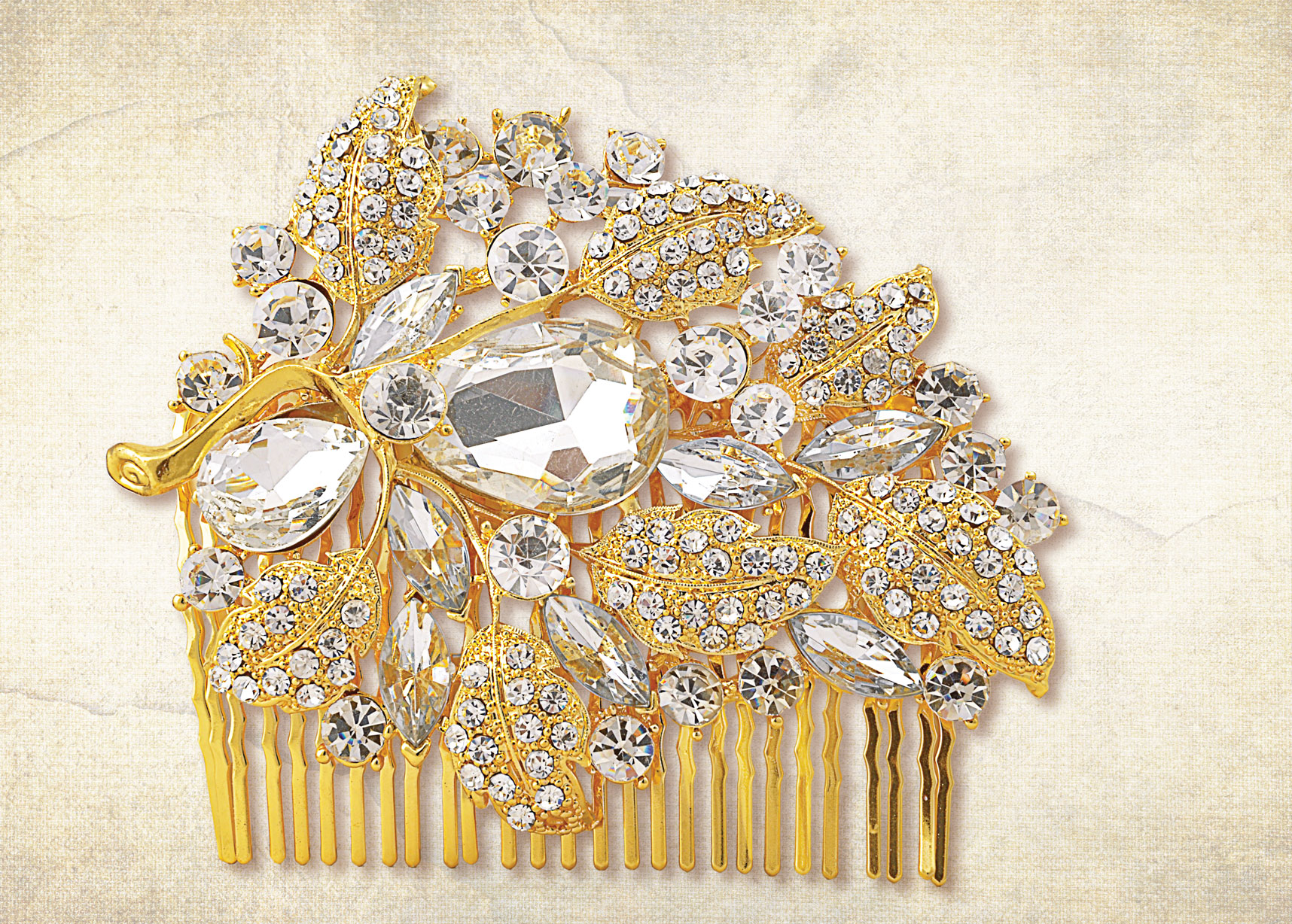 Rich gold finished floral silver sequinned diamante hair comb