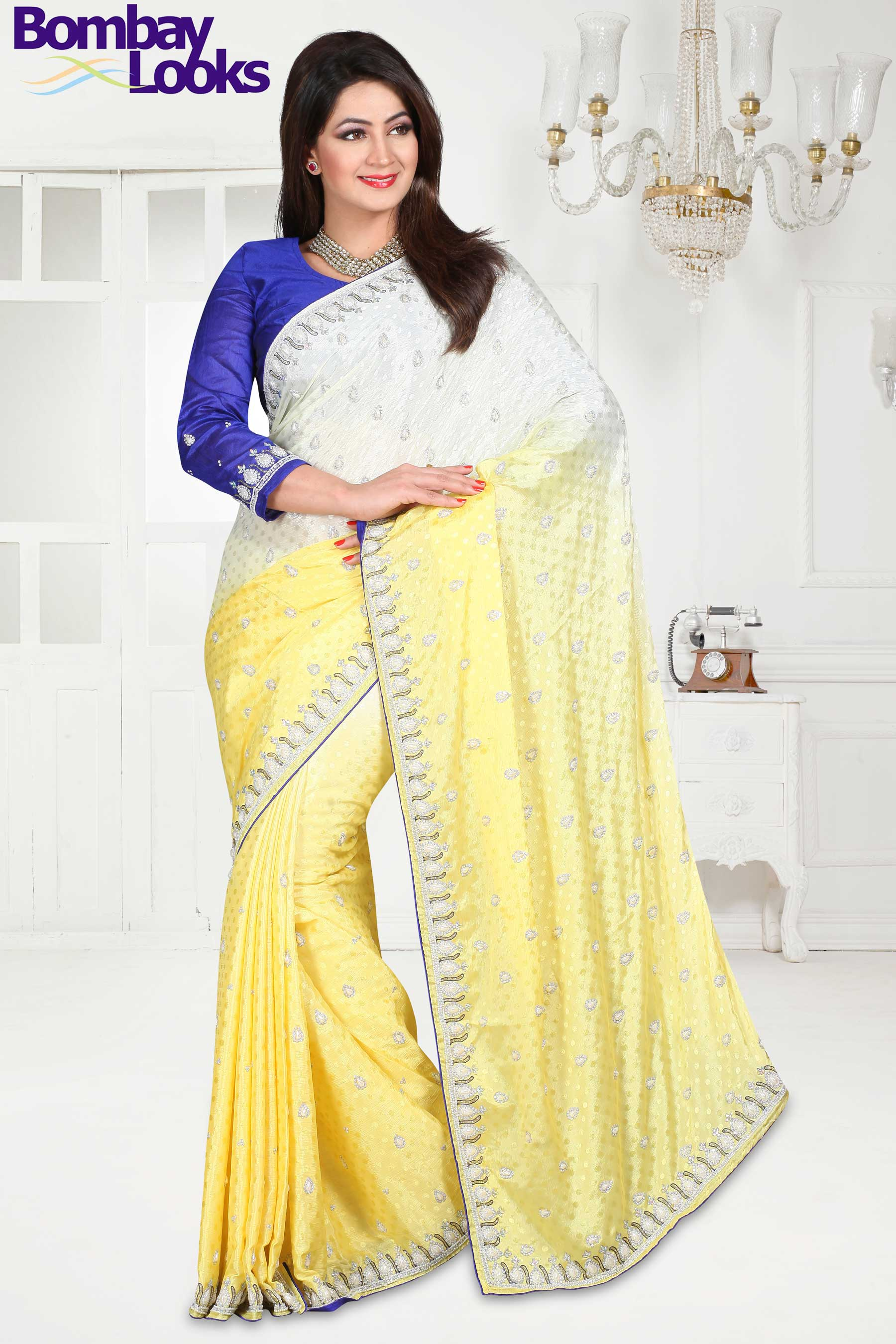 Shaded Jacquard saree with Pearl and stone embroidery
