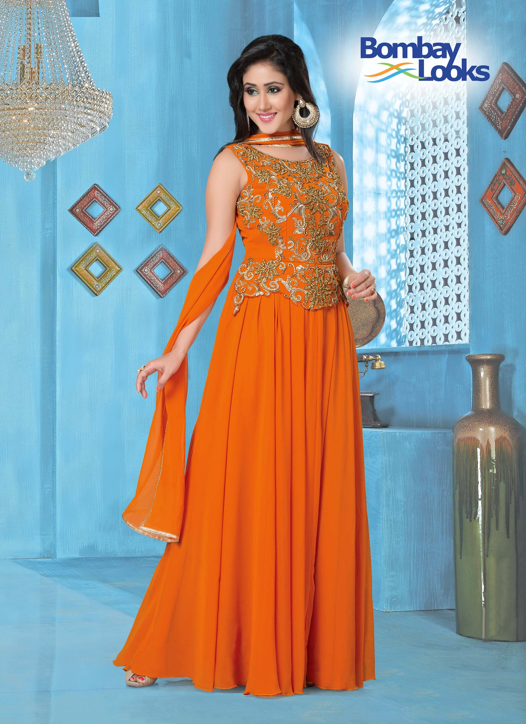 Floor Length Orange Embroidered Gown