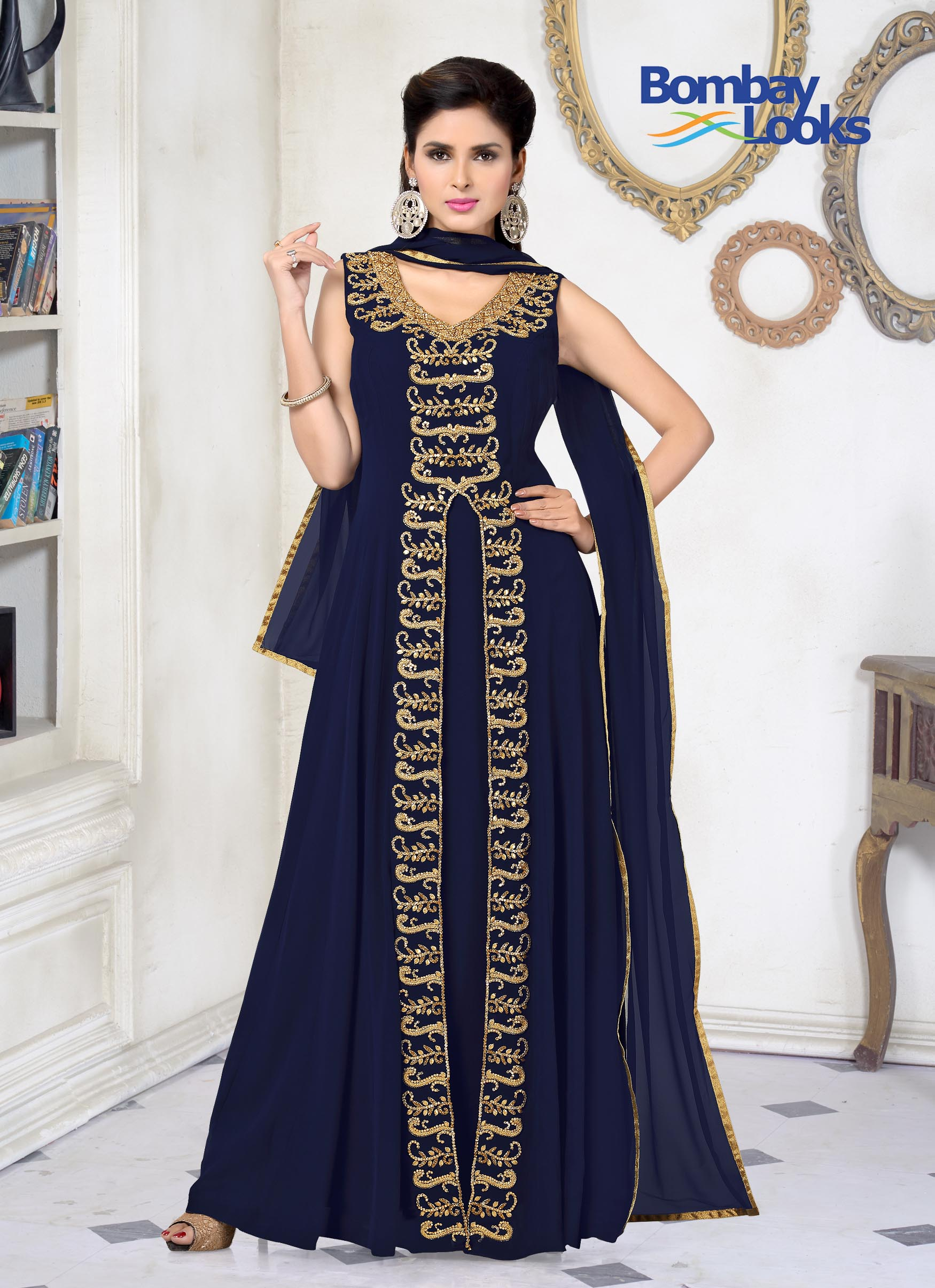 Navy Floor Length Gown With Embroidery