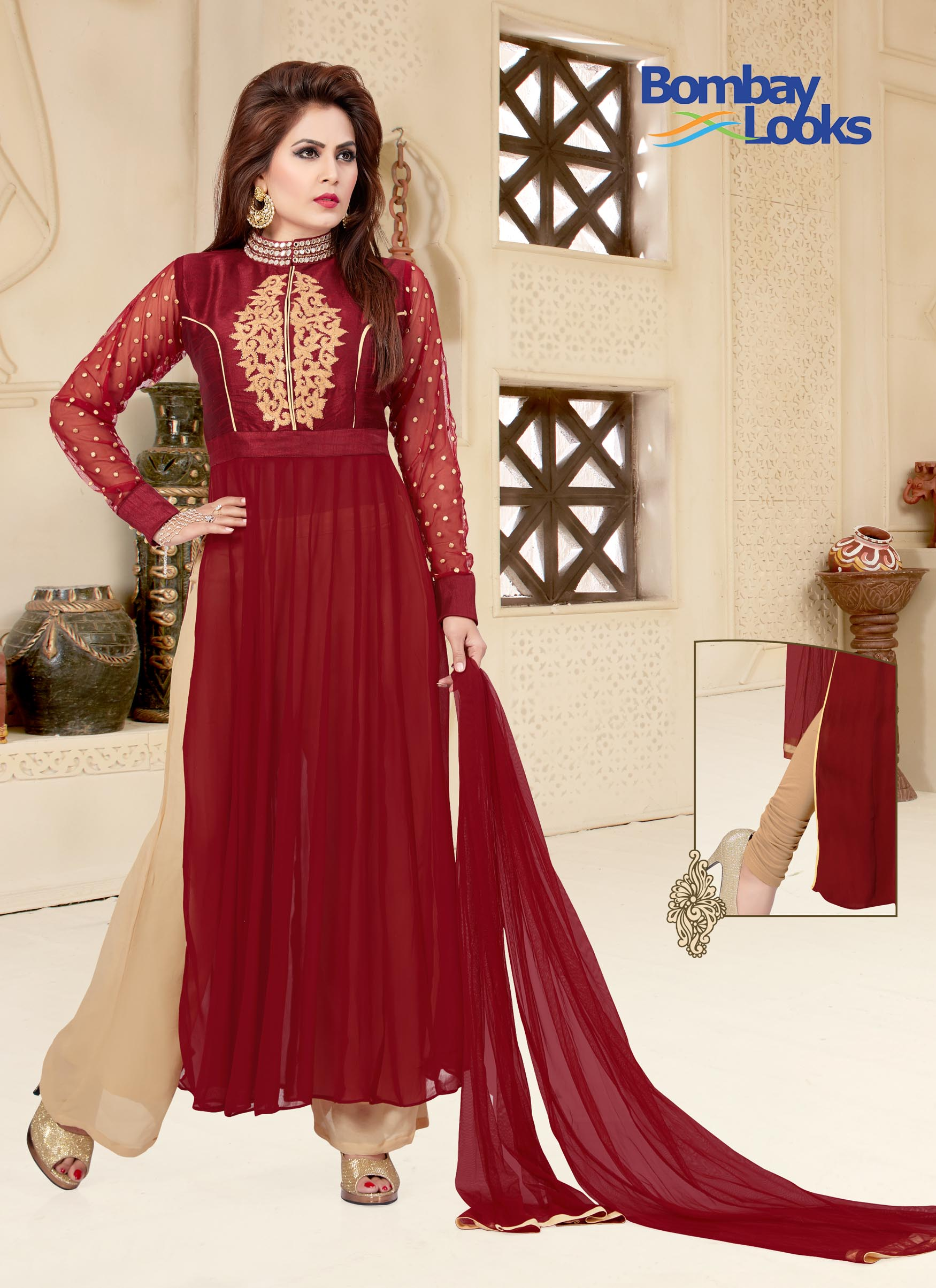 Maroon Georgette Suit With Two In One Palazzo & Churidar