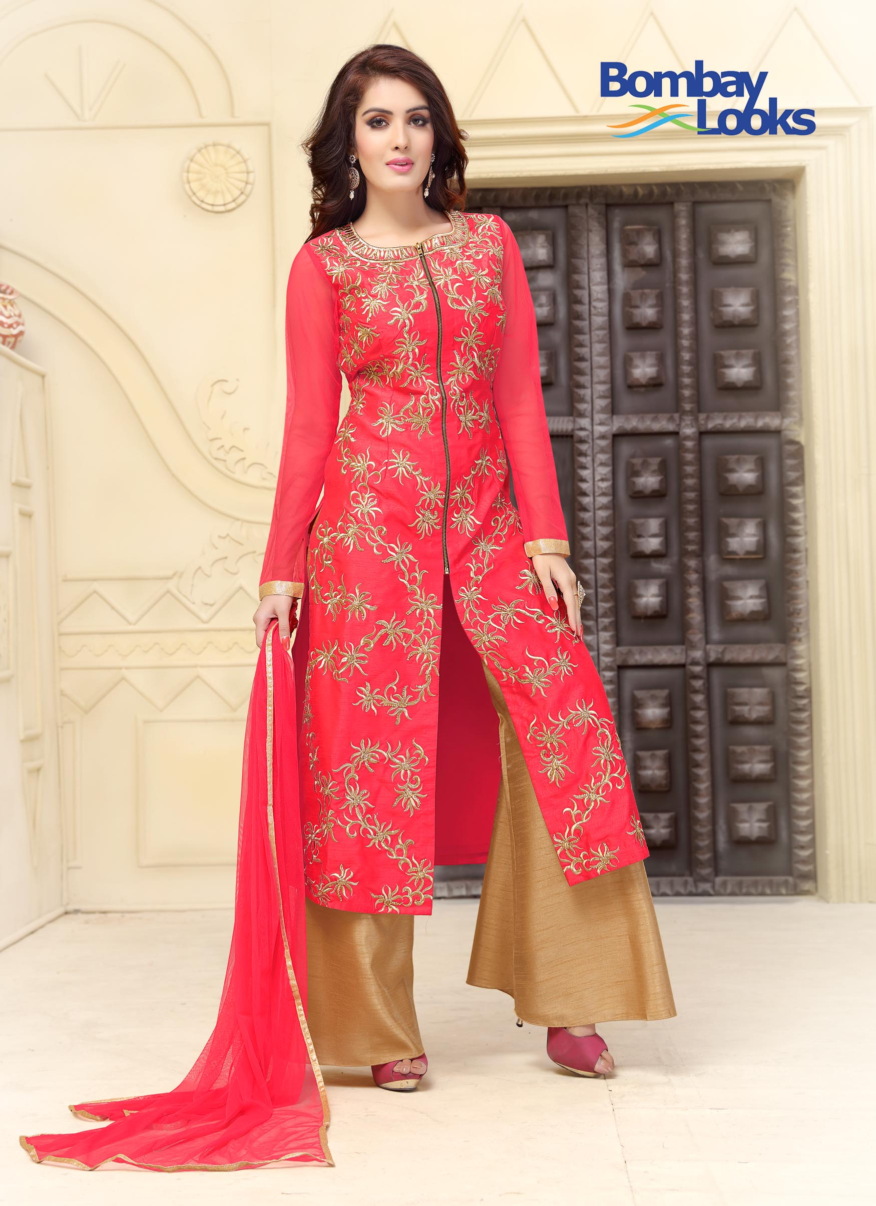Dupion Silk Coral Suit With Palazzo
