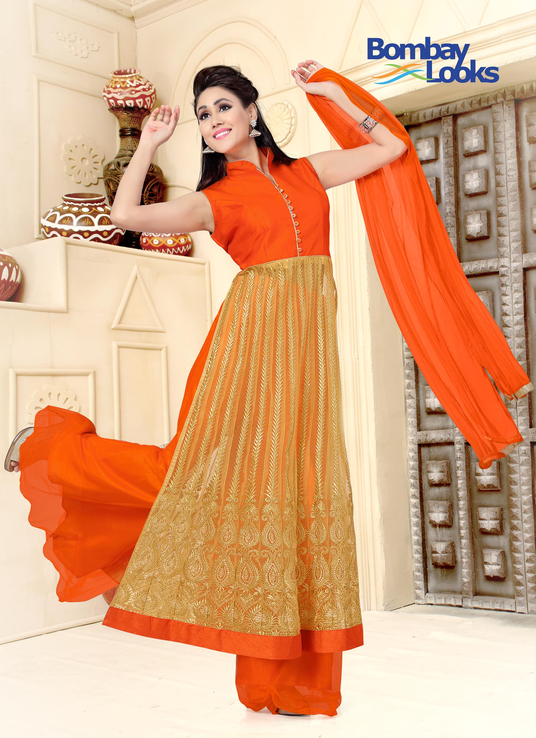 Orange Side Slits Soft Net Suit With Palazzo