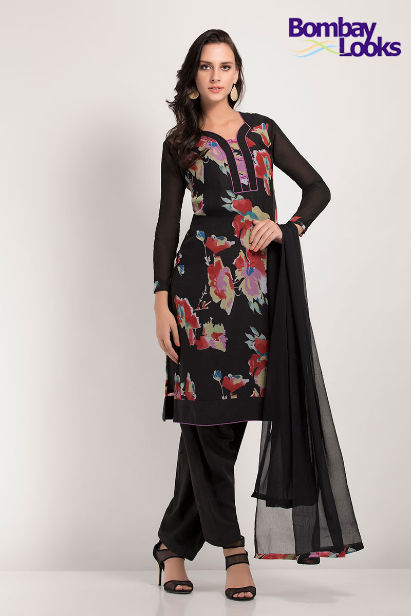 Classic black chiffon printed salwar suit with dupatta