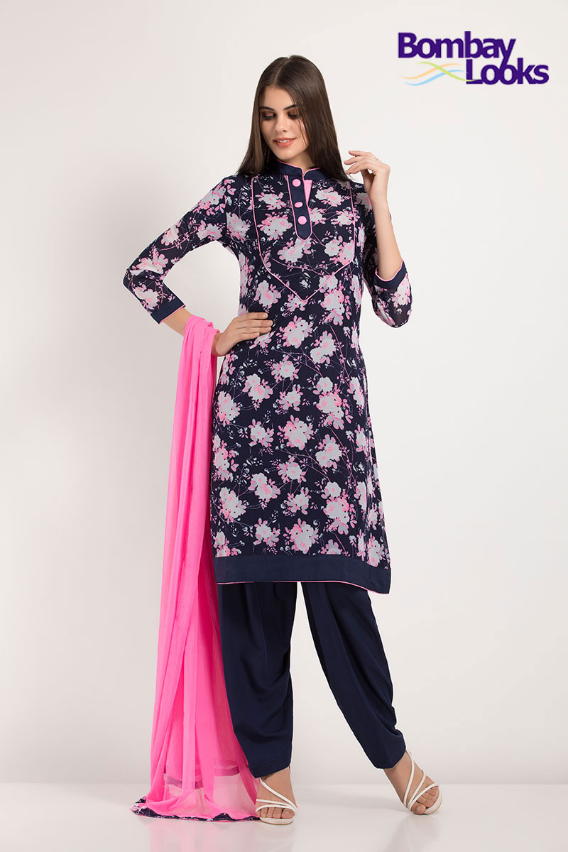 Classic floral printed geogette salwar suit with contrast dupatta