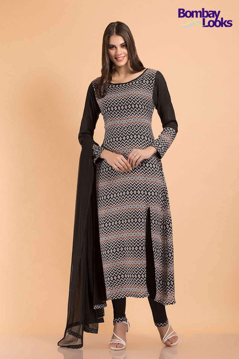 Unique brown and black rayon suit with front side slit and chiffon dupatta