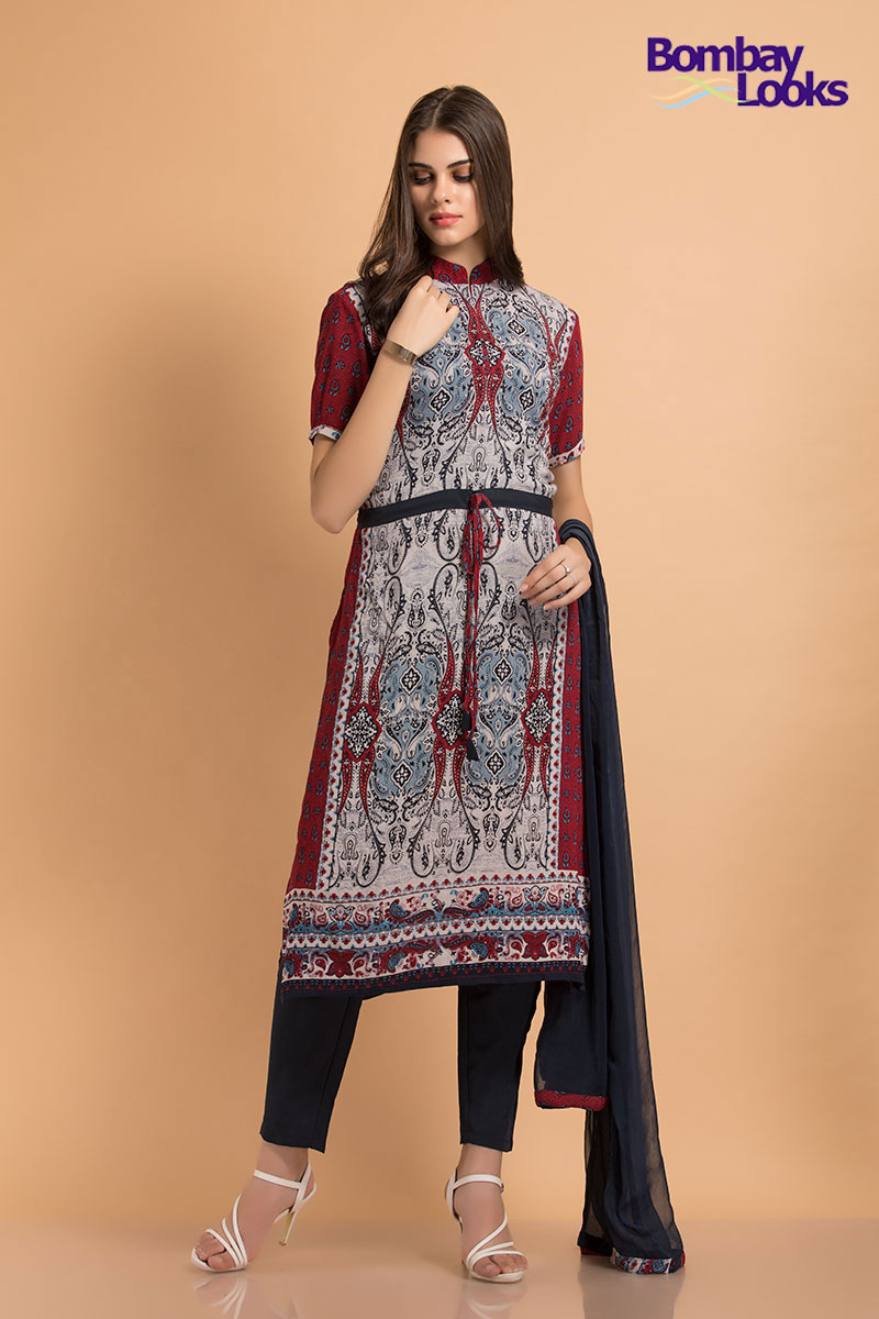 Red and grey trendy crepe suit with contrasting trousers and dupatta