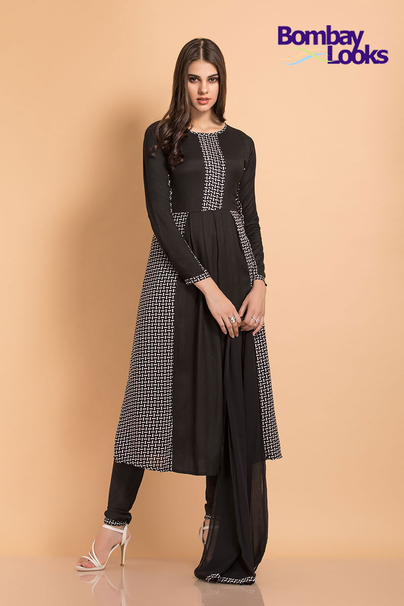 Solid black and white weave printed rayon suit with churidar