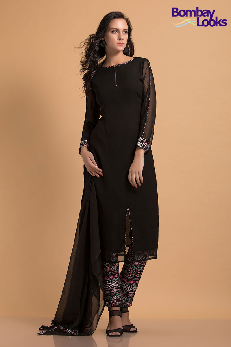 Black georgette suit with side slits and printed trousers