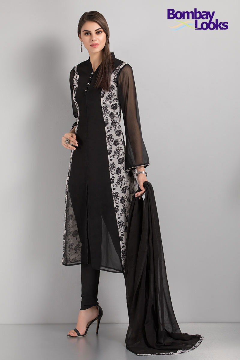 Trendy black and white chiffon printed jacket suit with bell sleeves