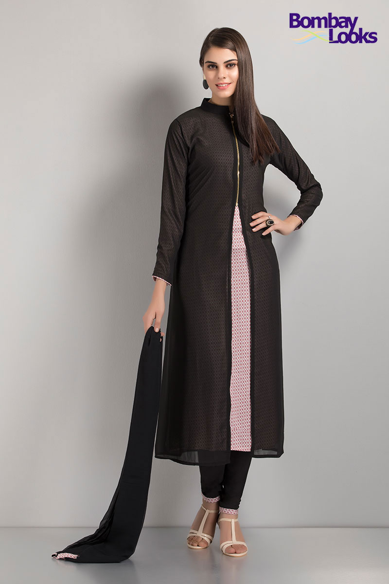 Black and pink trendy jacket style georgette suit with inner printed layer