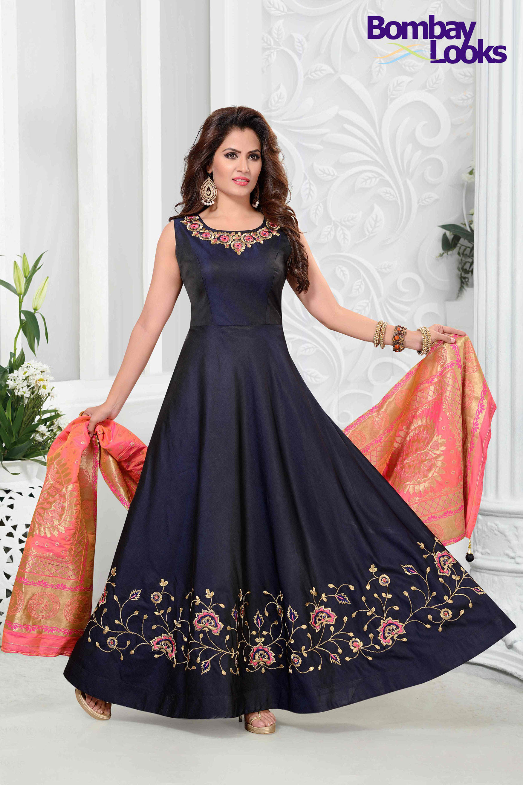 Dark Navy blue barfi silk floor length suit