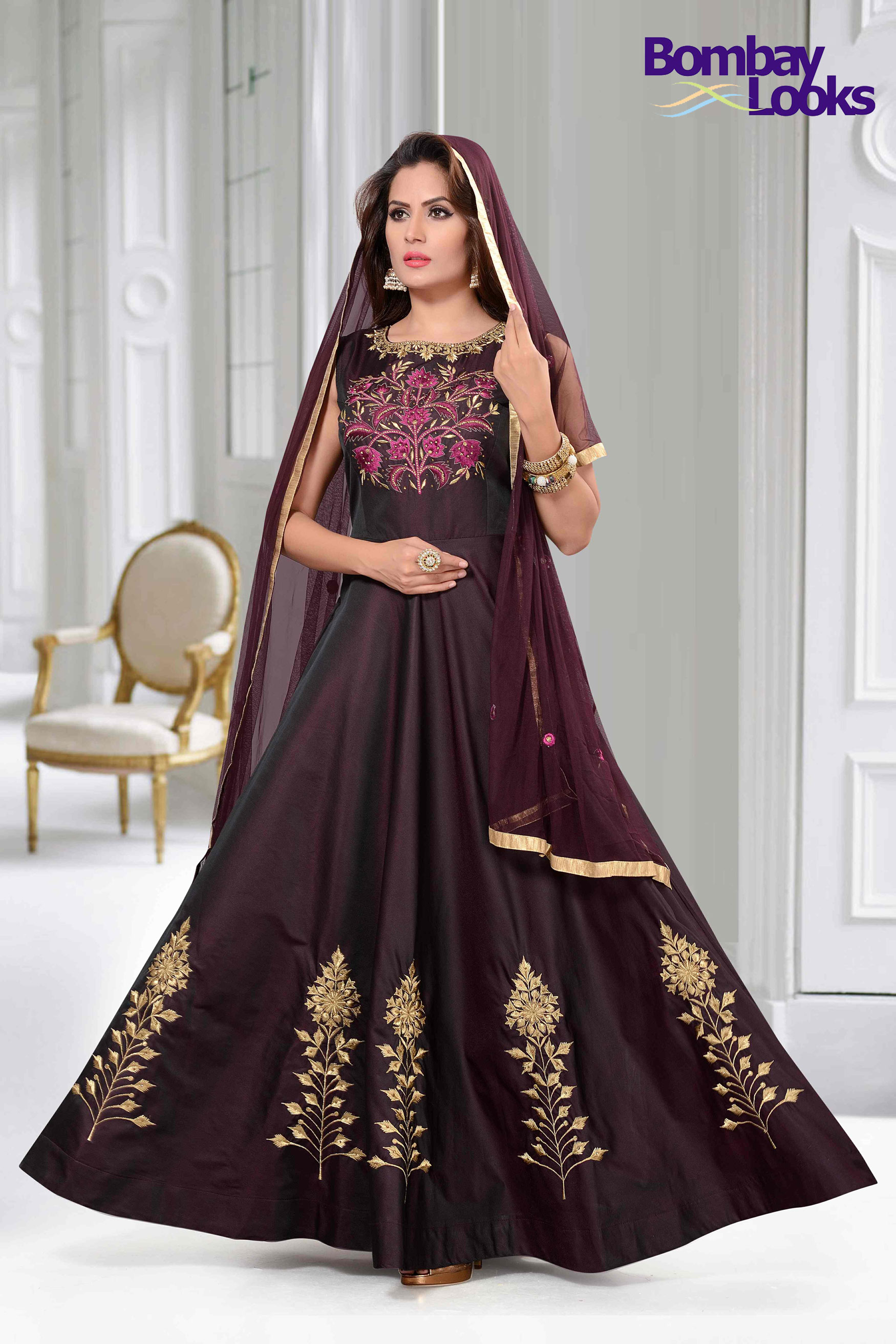 Wine colour Barfi silk suit