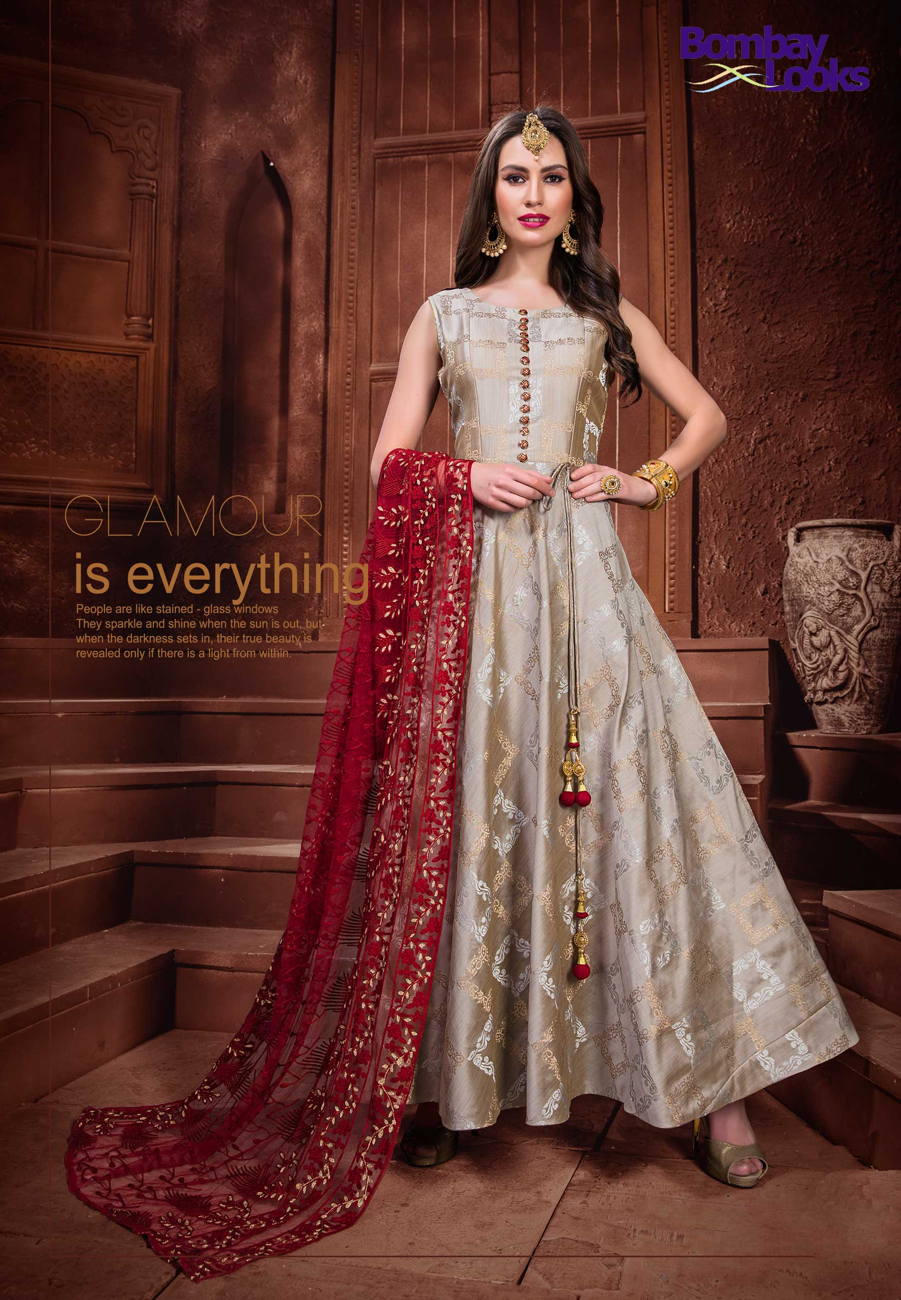Classic floor length brocade suit with contrast embroidered dupatta