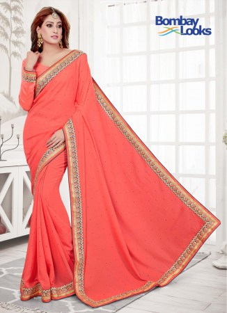 15d6bedcc47d62 Timeless Salmon saree with matching long sleeves blouse