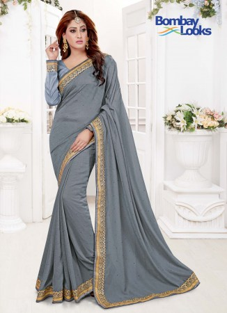 c3feacf2fe1c16 Timeless Grey saree with matching long sleeves blouse