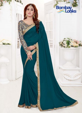 69cfd5343a6df1 Pretty Teal colour saree with dainty gold border