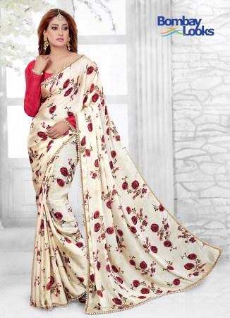 6287c023d66b66 Enchanting Floral print saree with contrast blouse