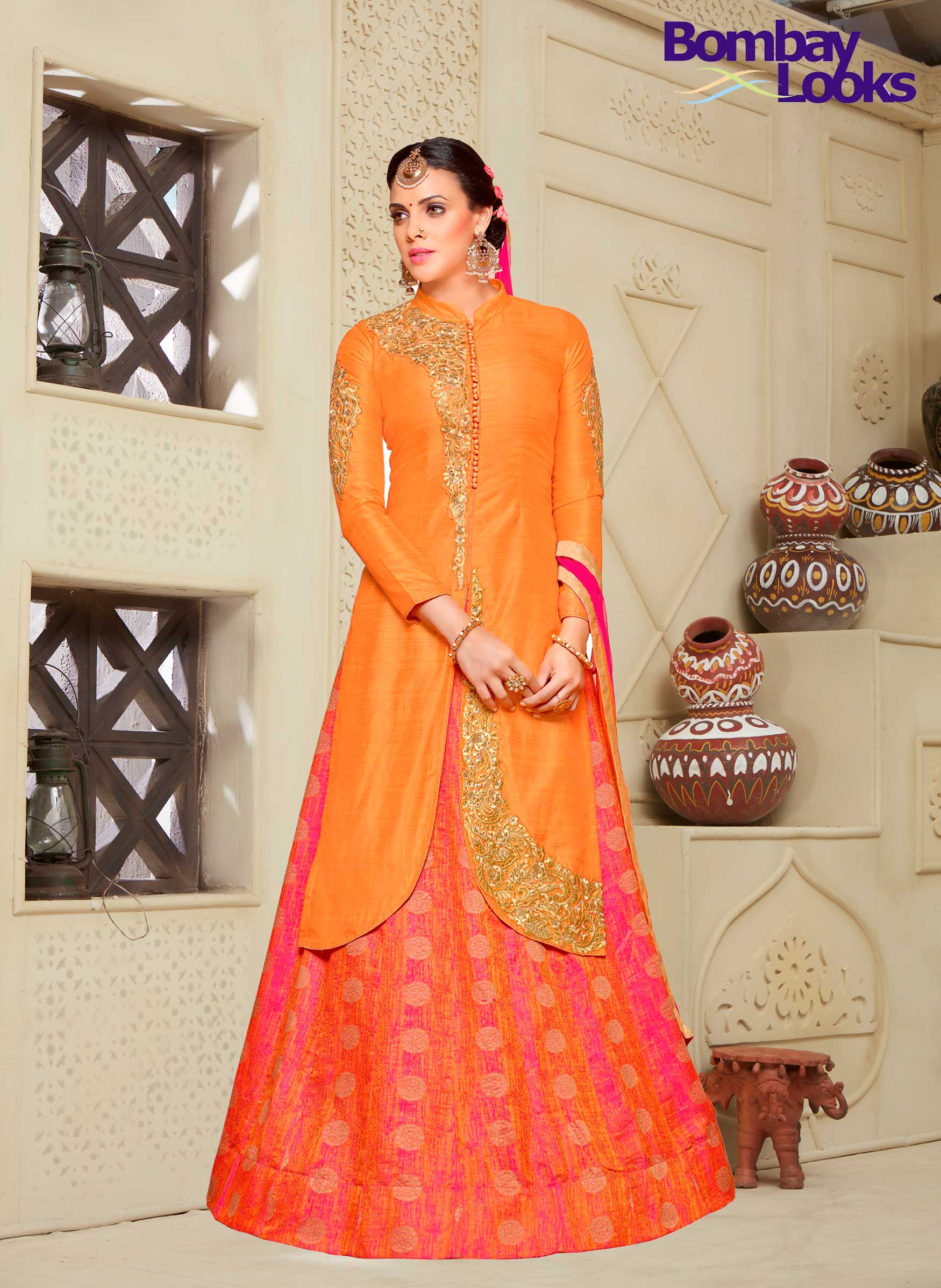 Orange Vibrant kurta with rani brocade design lehenga